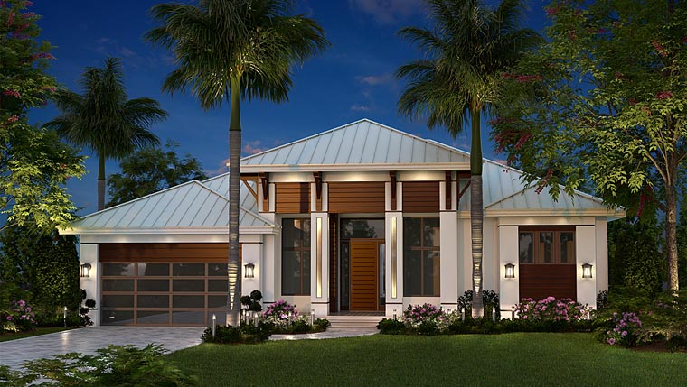 Coastal Contemporary Florida House Plan 75989 Elevation