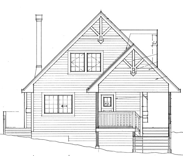 House Plan 76001 | Cabin Contemporary Country Style Plan with 1154 Sq Ft, 2 Bedrooms, 2 Bathrooms Rear Elevation