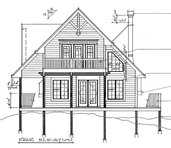 Contemporary House Plan 76002 Rear Elevation