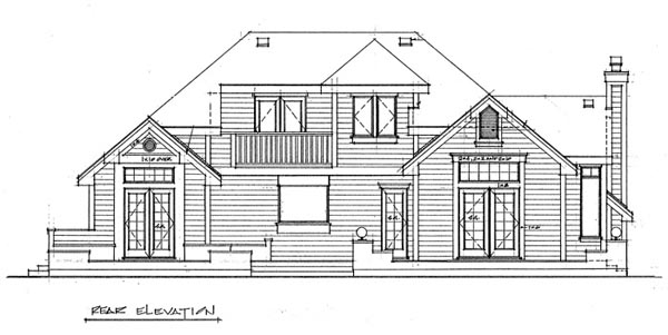 Contemporary Rear Elevation of Plan 76003
