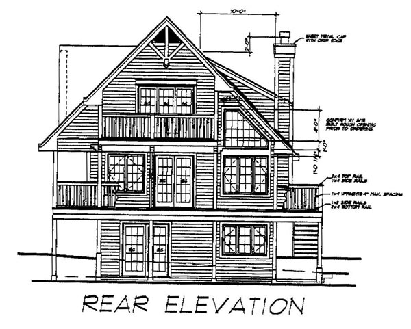 Country House Plan 76004 with 3 Beds, 2 Baths Rear Elevation
