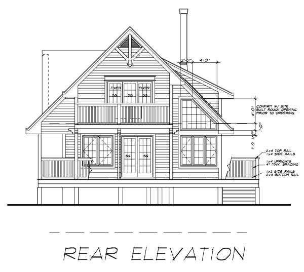 House Plan 76005 Rear Elevation