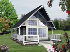 House Plan 76008 | Contemporary Style Plan with 582 Sq Ft, 1 Bed, 1 Bath Elevation