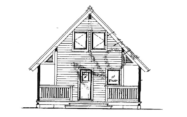 Contemporary Rear Elevation of Plan 76008