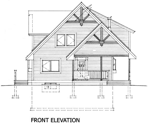 Cabin Narrow Lot Rear Elevation of Plan 76011