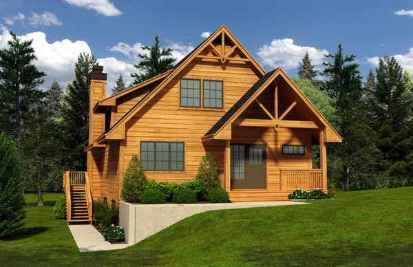 Cabin Cottage House Plan 76014 Elevation
