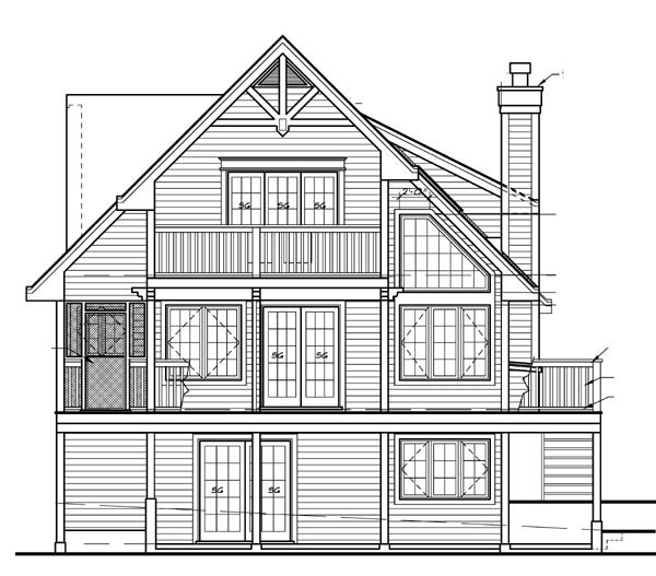 Cabin, Cottage House Plan 76014 with 5 Beds, 3 Baths Rear Elevation