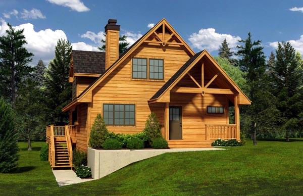 Cabin, Cottage House Plan 76016 with 3 Beds , 2 Baths Elevation