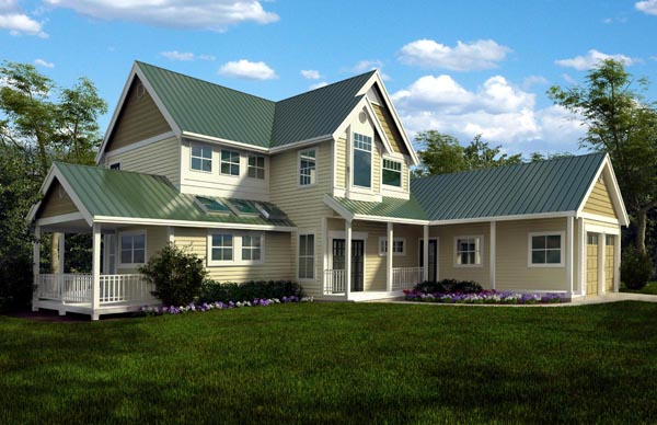 House Plan 76017 | Cottage Farmhouse Traditional Style Plan with 2604 Sq Ft, 3 Bedrooms, 4 Bathrooms, 2 Car Garage Elevation