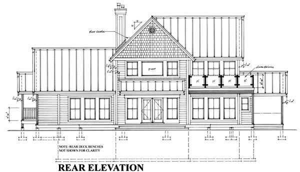 House Plan 76017 | Cottage Farmhouse Traditional Style Plan with 2604 Sq Ft, 3 Bedrooms, 4 Bathrooms, 2 Car Garage Rear Elevation