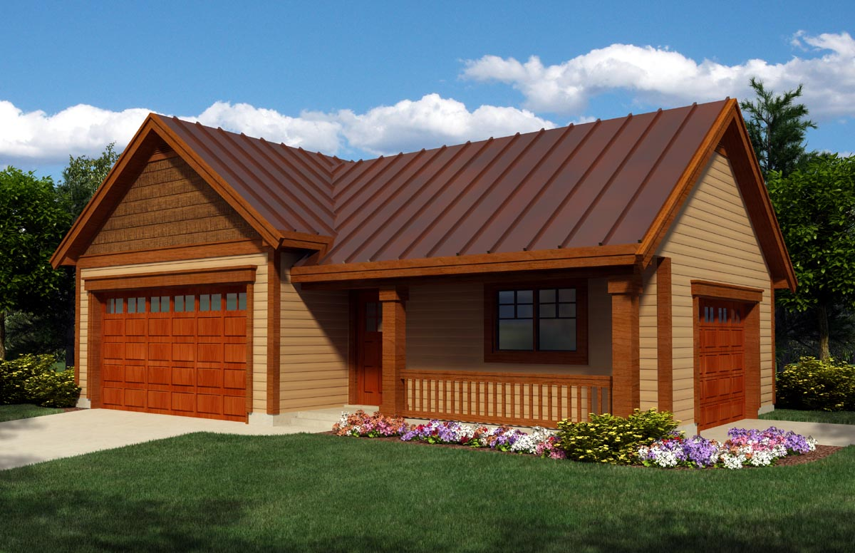 Garage Plan 76020 at FamilyHomePlans – House Plans With Attached 4 Car Garage