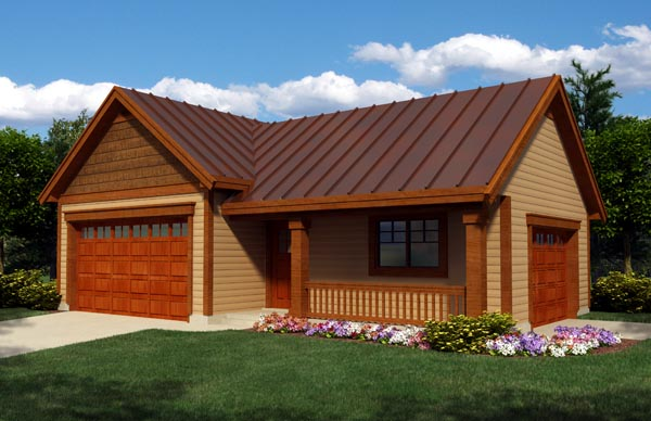 Cottage , Craftsman , Ranch 3 Car Garage Plan 76020, RV Storage Elevation