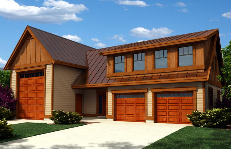 Contemporary Craftsman Elevation of Plan 76023