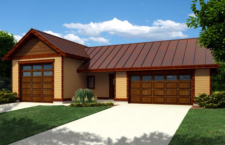 3 Car Garage Plan 76025, RV Storage Front Elevation