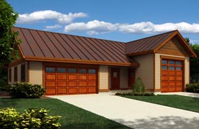 Garage Plan 76028 | Style Plan with 322 Sq Ft, 1 Bathrooms, 3 Car Garage Elevation