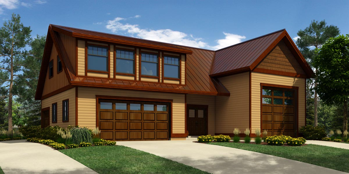 4 Car Garage Apartment Plan Number 76029 with 1 Bed, 3 Bath, RV Storage