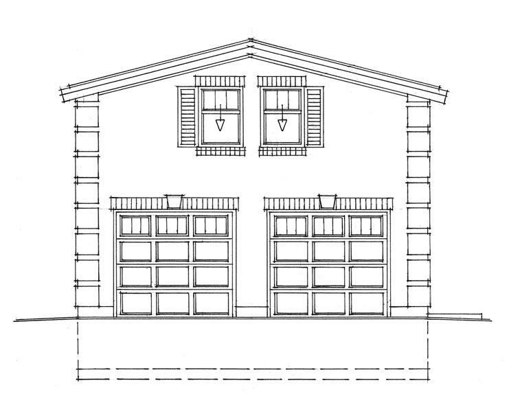 2 Car Garage Plan 76030 Elevation