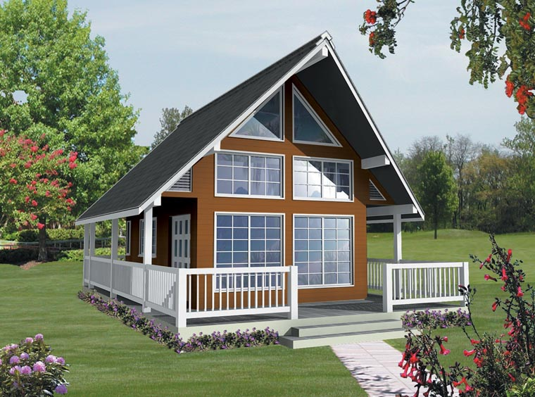 Cabin , Contemporary , Cottage , Elevation of Plan 76033