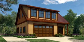 3 Car Garage Apartment Plan 76037 with 1 Beds, 2 Baths Elevation