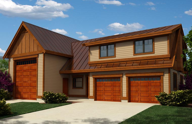 Craftsman 3 Car Garage Apartment Plan 76038 with 2 Beds, 2 Baths, RV Storage Elevation