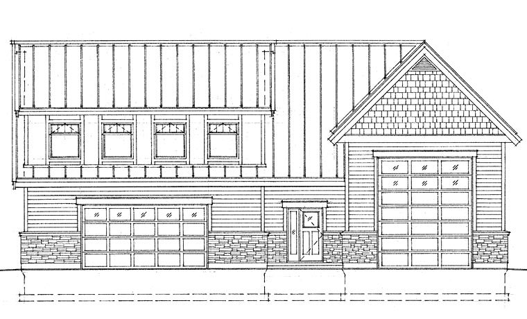 Craftsman, Traditional 4 Car Garage Apartment Plan 76039 with 1 Beds, 3 Baths, RV Storage Elevation