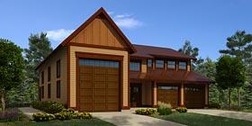 Garage Plan 76056 | Traditional Style Plan, 3 Car Garage Elevation