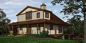 Cottage , Country House Plan 76059 with 2 Beds, 3 Baths Elevation