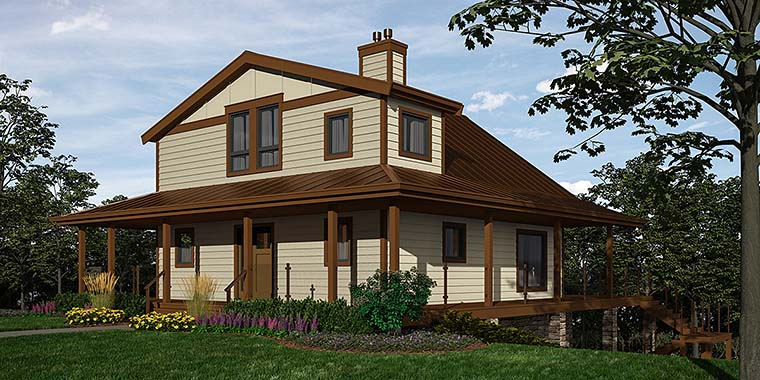 Cottage, Country House Plan 76059 with 2 Beds , 3 Baths Elevation