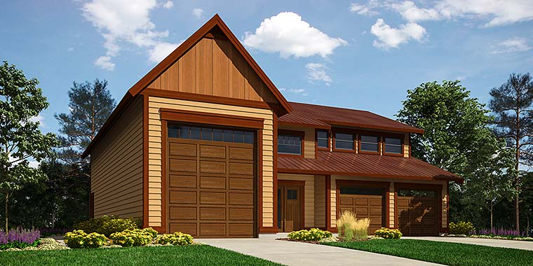 Traditional 3 Car Garage Apartment Plan 76061 with 1 Beds, 2 Baths, RV Storage Elevation
