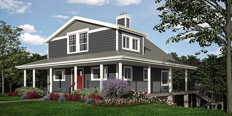 Cabin Coastal Cottage Country Elevation of Plan 76066
