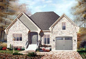 European , Traditional House Plan 76112 with 2 Beds, 1 Baths, 1 Car Garage Elevation