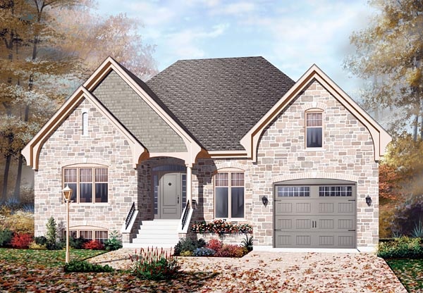 European, Traditional House Plan 76112 with 2 Beds, 1 Baths, 1 Car Garage Elevation