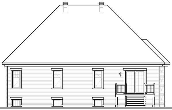 European, Traditional House Plan 76112 with 2 Beds, 1 Baths, 1 Car Garage Rear Elevation