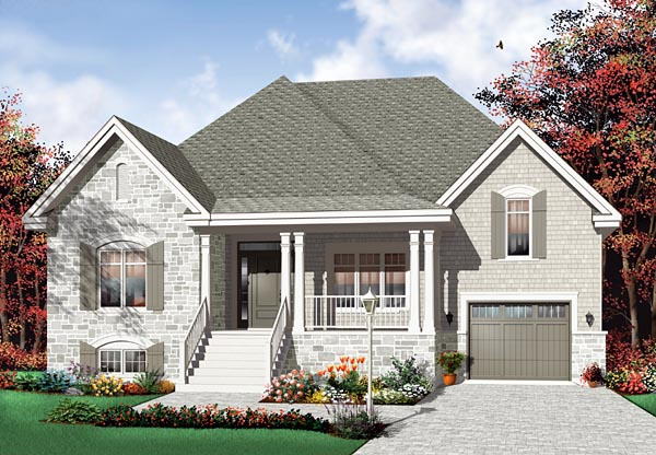 Traditional House Plan 76114 with 2 Beds, 1 Baths, 1 Car Garage Elevation