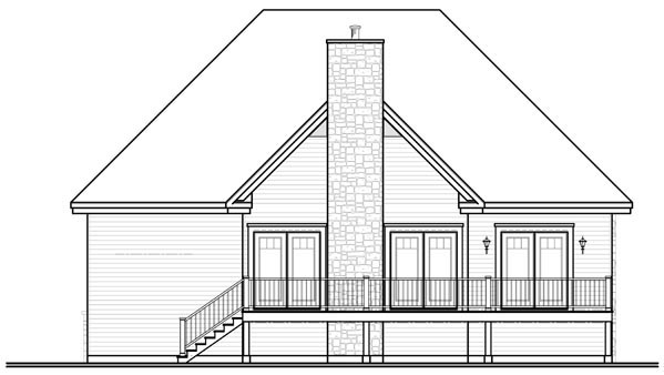 Traditional House Plan 76114 with 2 Beds, 1 Baths, 1 Car Garage Rear Elevation