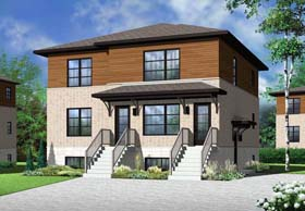 Contemporary Multi-Family Plan 76115 Elevation