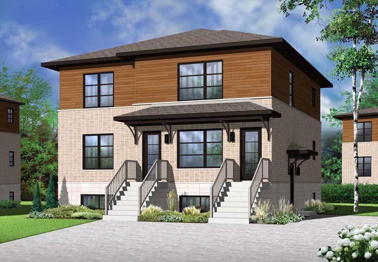 Multi family plan 76115 at for Modern multi family house plans
