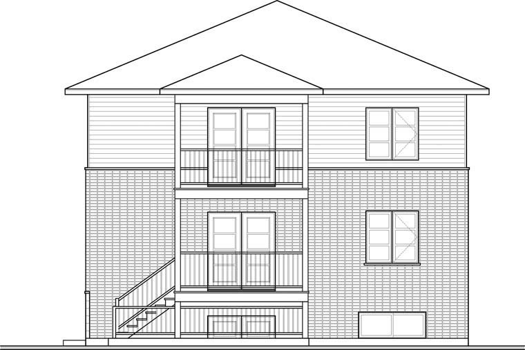 Contemporary Multi-Family Plan 76115 Rear Elevation