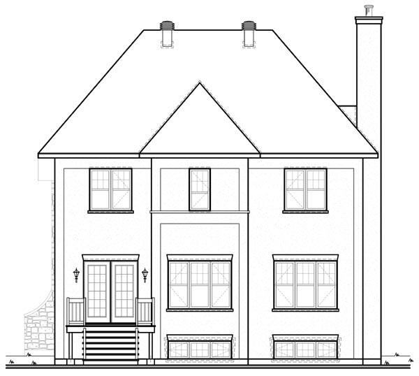 European House Plan 76117 with 3 Beds, 2 Baths, 1 Car Garage Rear Elevation