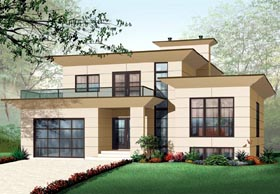 Contemporary House Plan 76120 with 4 Beds, 3 Baths, 1 Car Garage Elevation