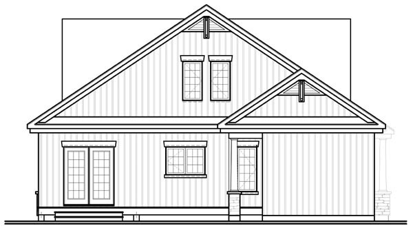 Craftsman Traditional House Plan 76125 Rear Elevation