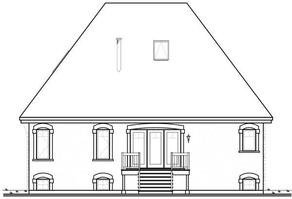 European House Plan 76126 Rear Elevation
