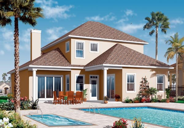 Florida Mediterranean House Plan 76130 Rear Elevation