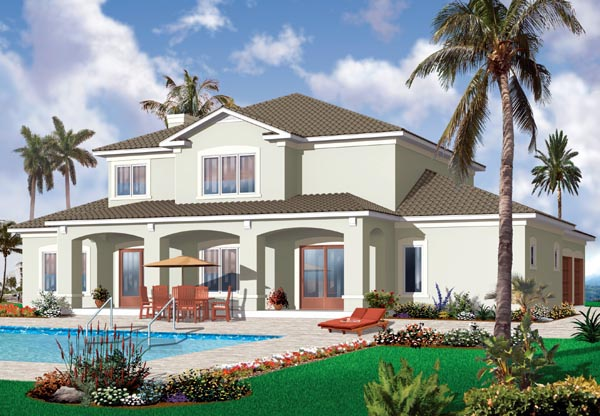 Florida House Plan 76131 with 6 Beds, 5 Baths, 3 Car Garage Rear Elevation