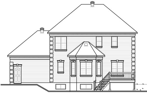 Colonial House Plan 76136 Rear Elevation