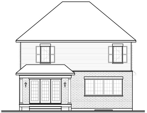 Traditional House Plan 76138 Rear Elevation