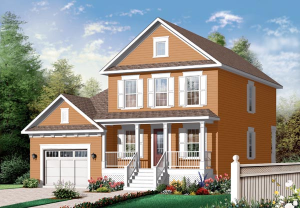 Traditional House Plan 76142 with 3 Beds, 2 Baths, 1 Car Garage Elevation