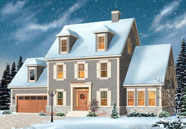 Cape Cod Colonial House Plan 76144 Elevation