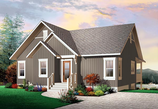 Craftsman, Traditional House Plan 76146 with 2 Beds, 1 Baths Elevation
