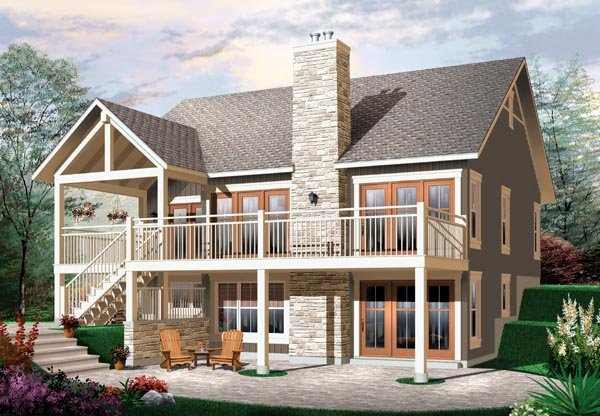 Craftsman, Traditional House Plan 76146 with 2 Beds, 1 Baths Rear Elevation